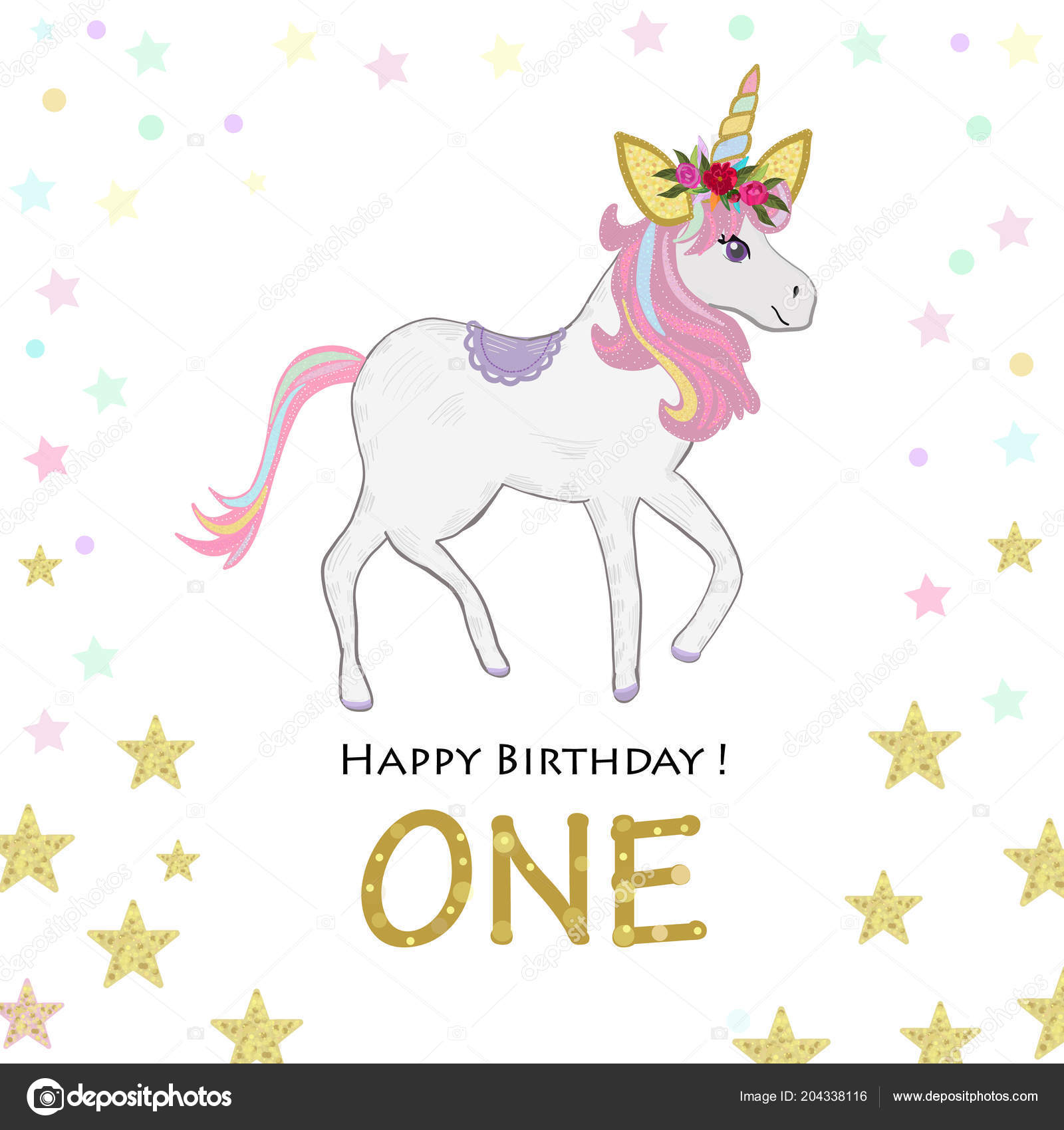 First Birthday Greeting One Magical Unicorn Invitation Party Stock Vector