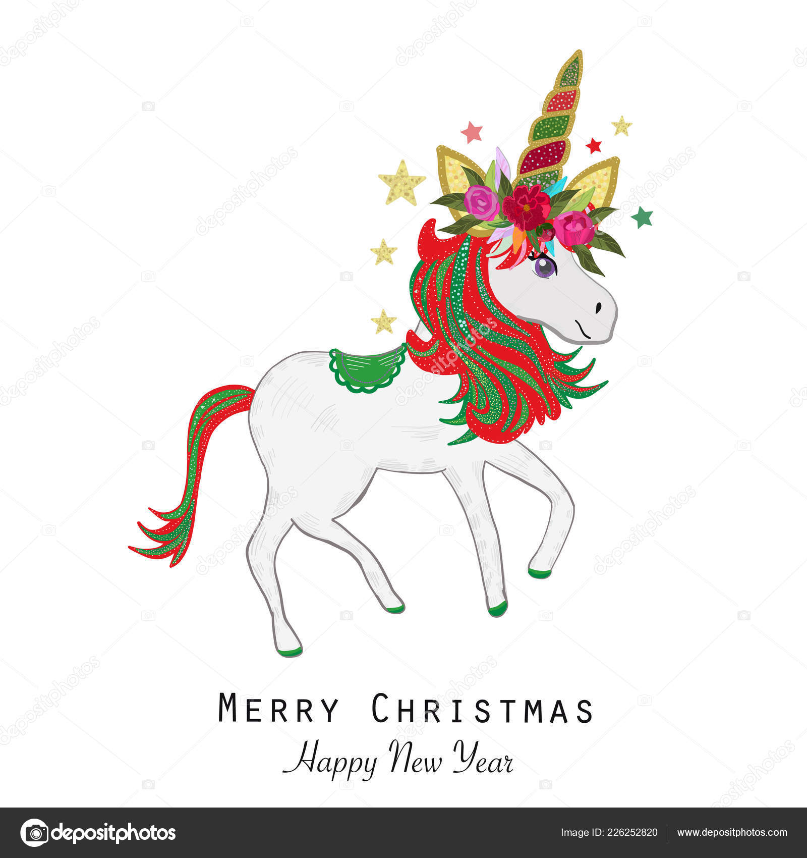 magical unicorn greeting card merry christmas happy new year stock vector