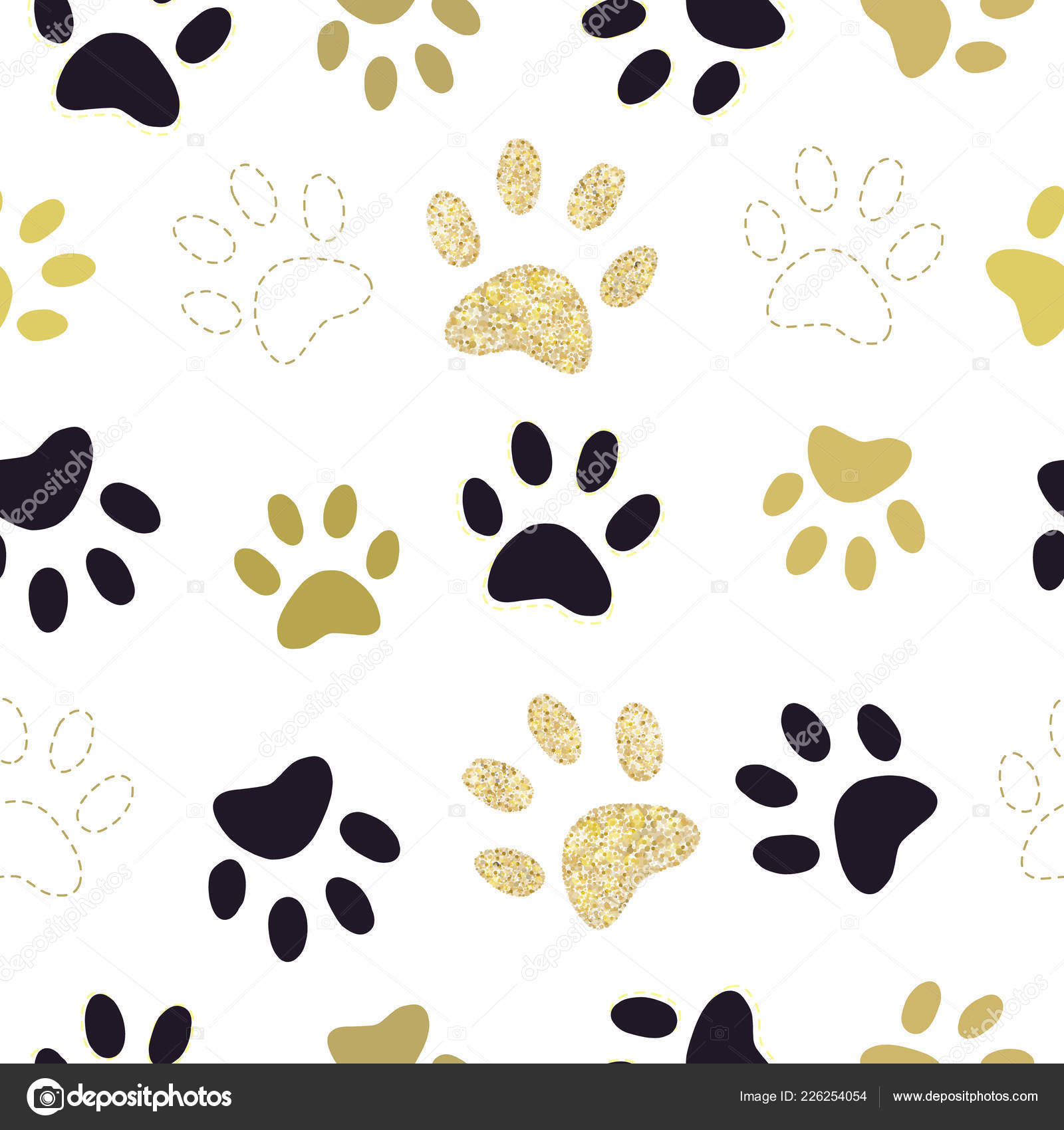 9a7450df0346 Trendy Gold Black Colored Paw Prints Pattern — Stock Vector ...