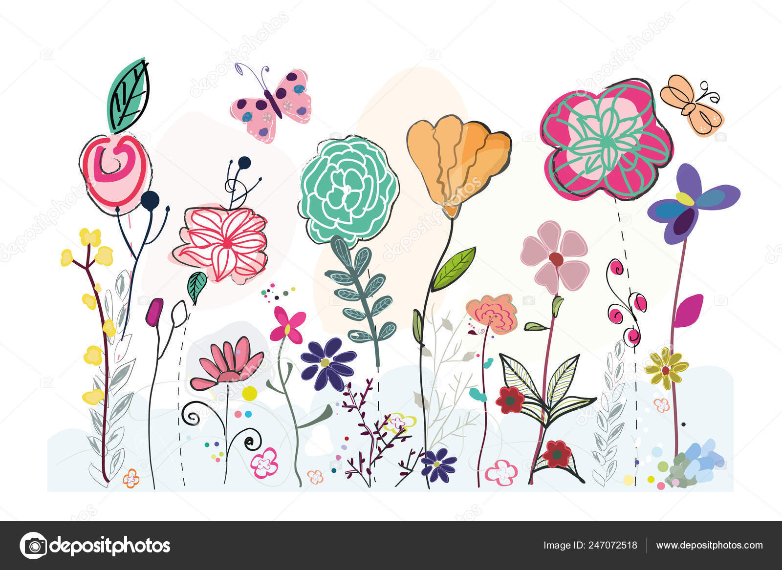Colorful Spring Field Hand Drawn Simple Floral Background Stock