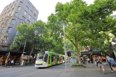 MELBOURNE AUSTRALIA - NOVEMBER 26, 2018: Unidentified people visit Swanston street in Melbourne Australia