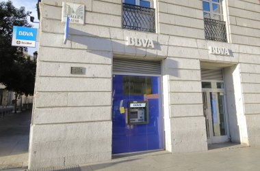 MADRID SPAIN - MAY 27, 2019: BBVA Banco Bilbao Vizcaya Argentaria bank in Madrid Spain.