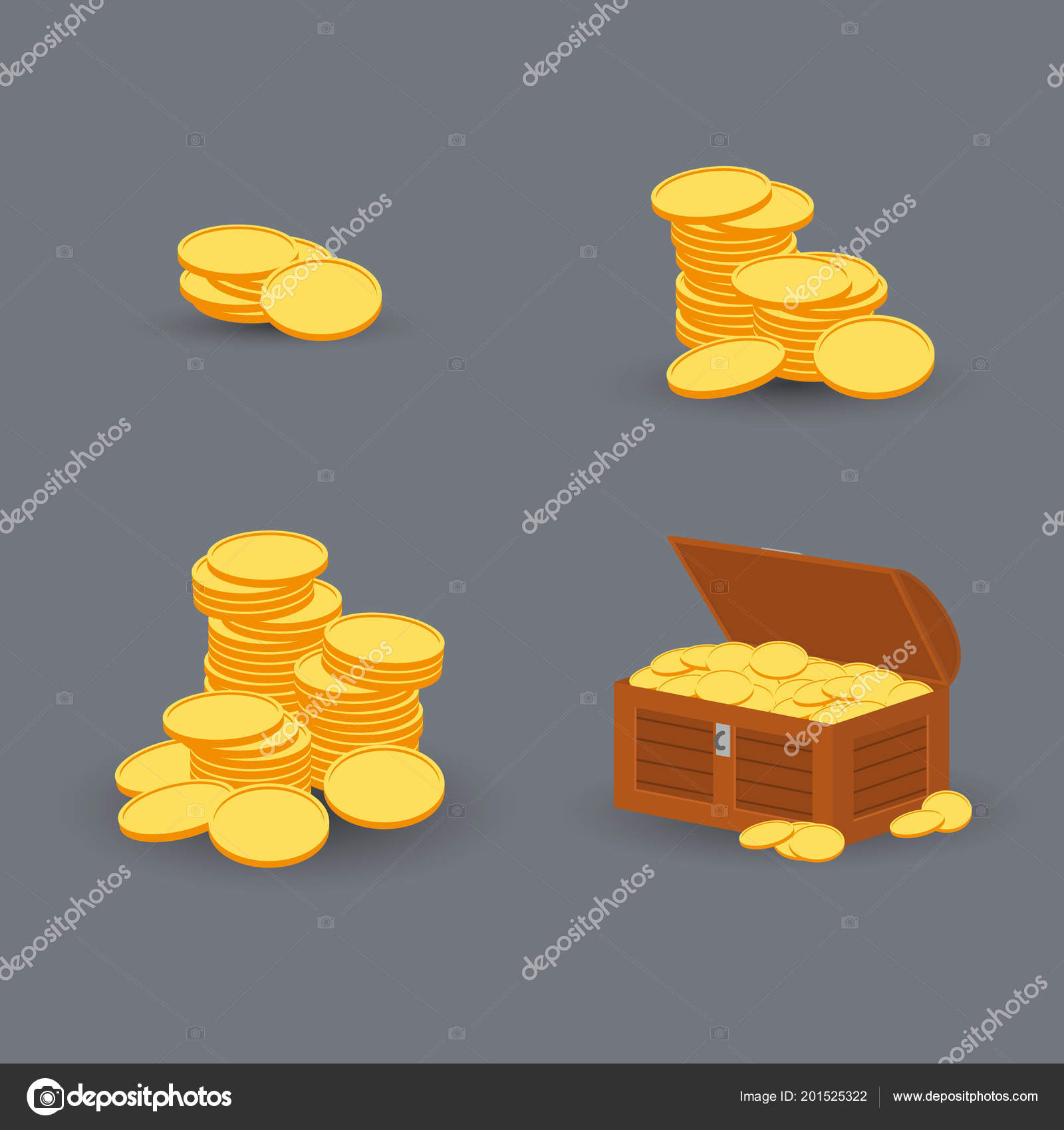 Wooden Chest Set For Game Interface Vector Illustration Stock