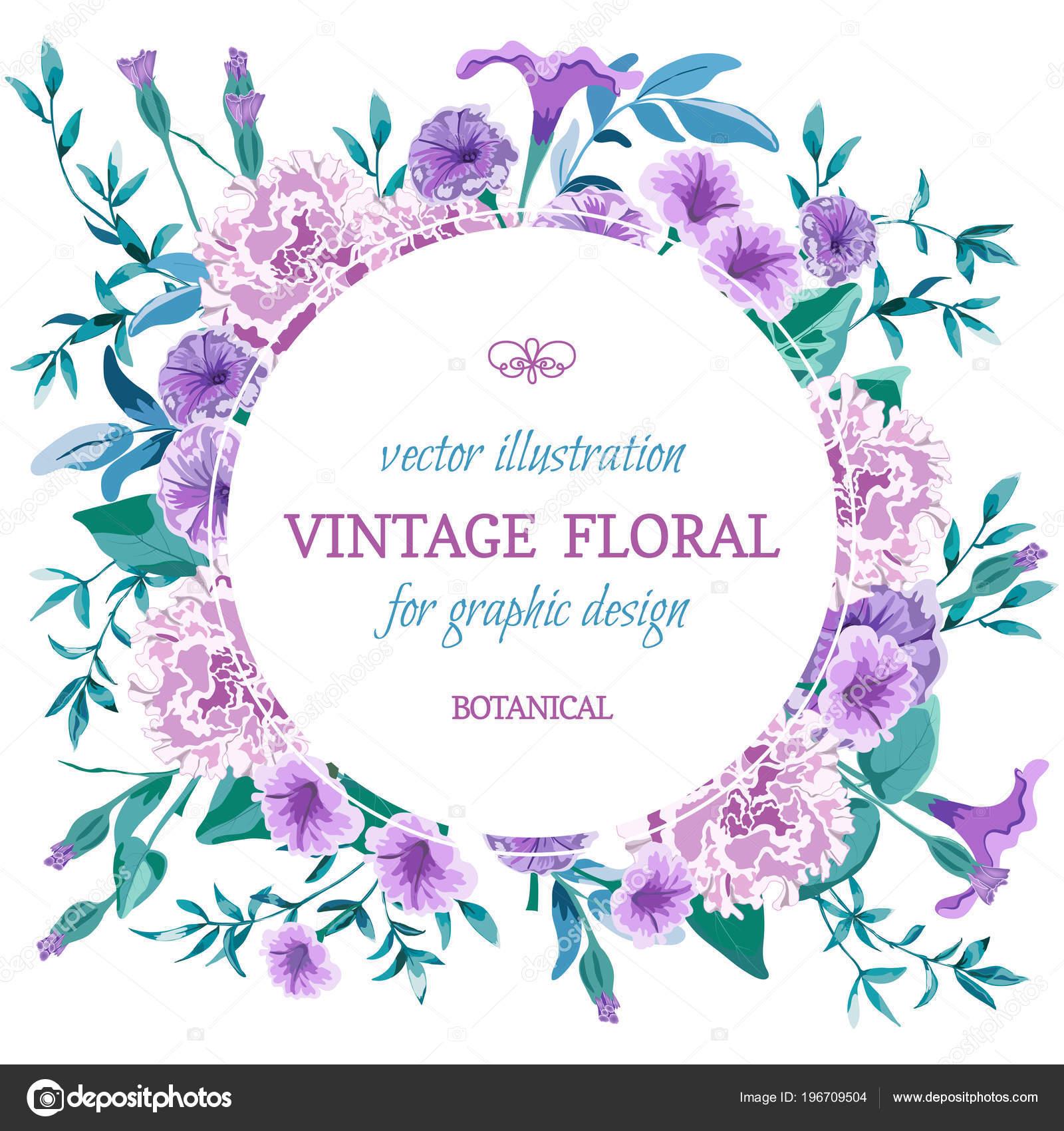 19e585e16 De fundo Vector floral vintage. Cartão de casamento com monte floral frame  redondo. Desenho em estilo aquarela flores-botânico. Petúnia, roxo de  peônia rosa ...
