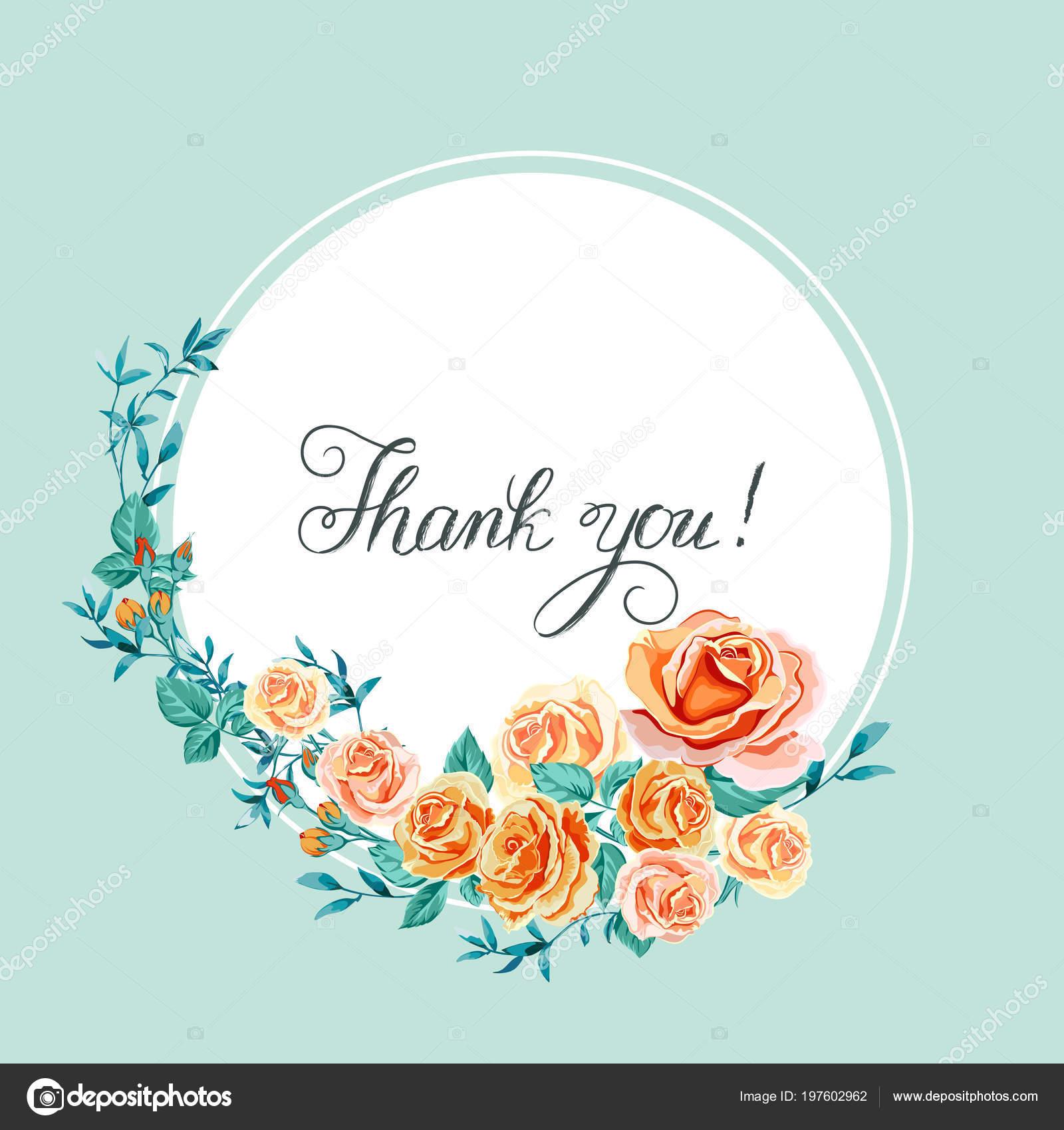 c96149432057 Ευχαριστήρια κάρτα με τριαντάφυλλα — Διανυσματικό Αρχείο ...