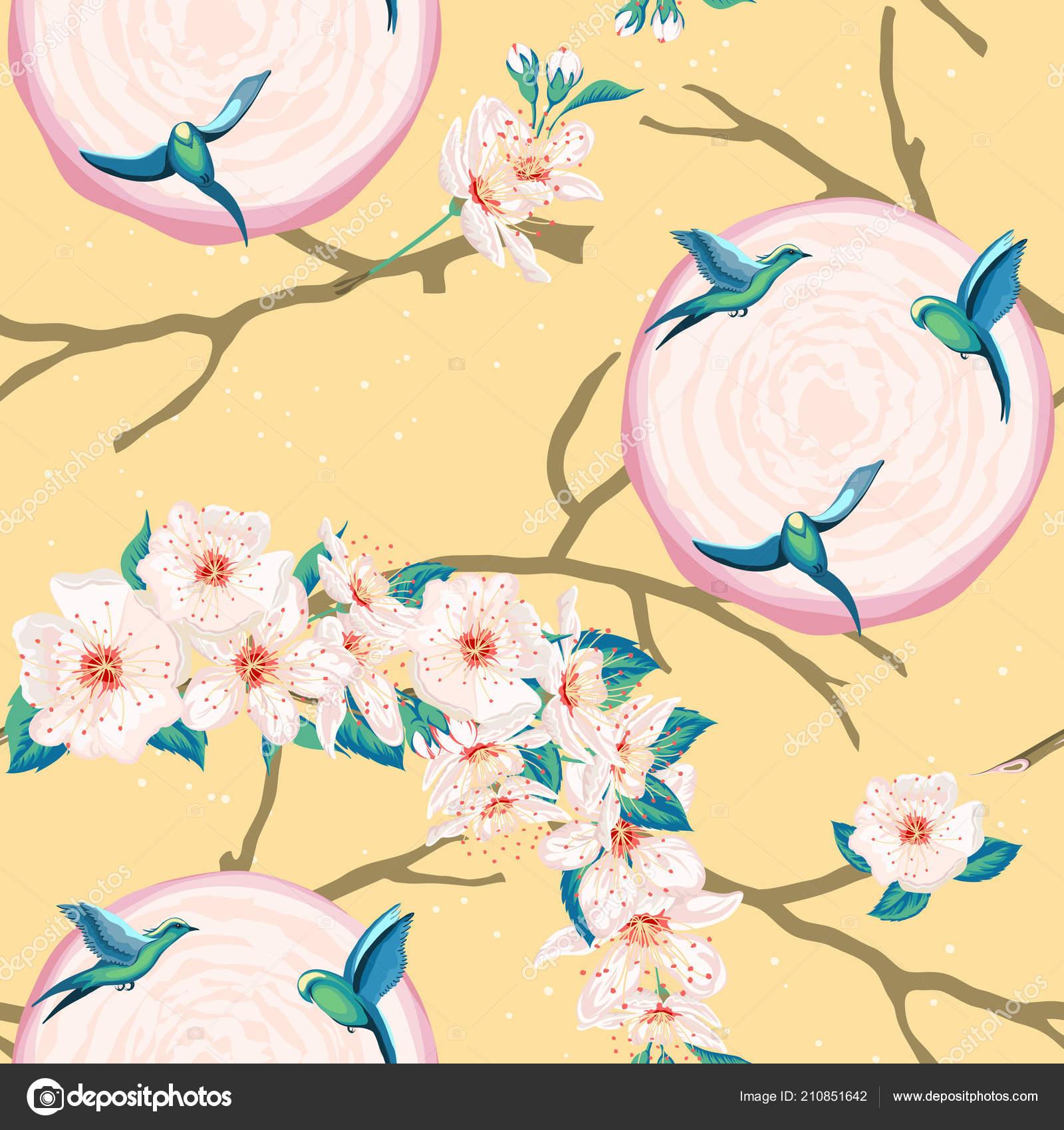 c7e57cb9a Fantasía de flores exóticas y aves del paraíso — Vector de stock ...