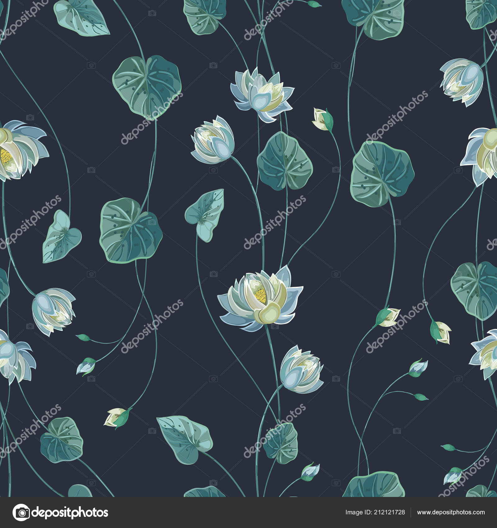 Floral Background With Lotus Flower And Green Leaves Stock Vector