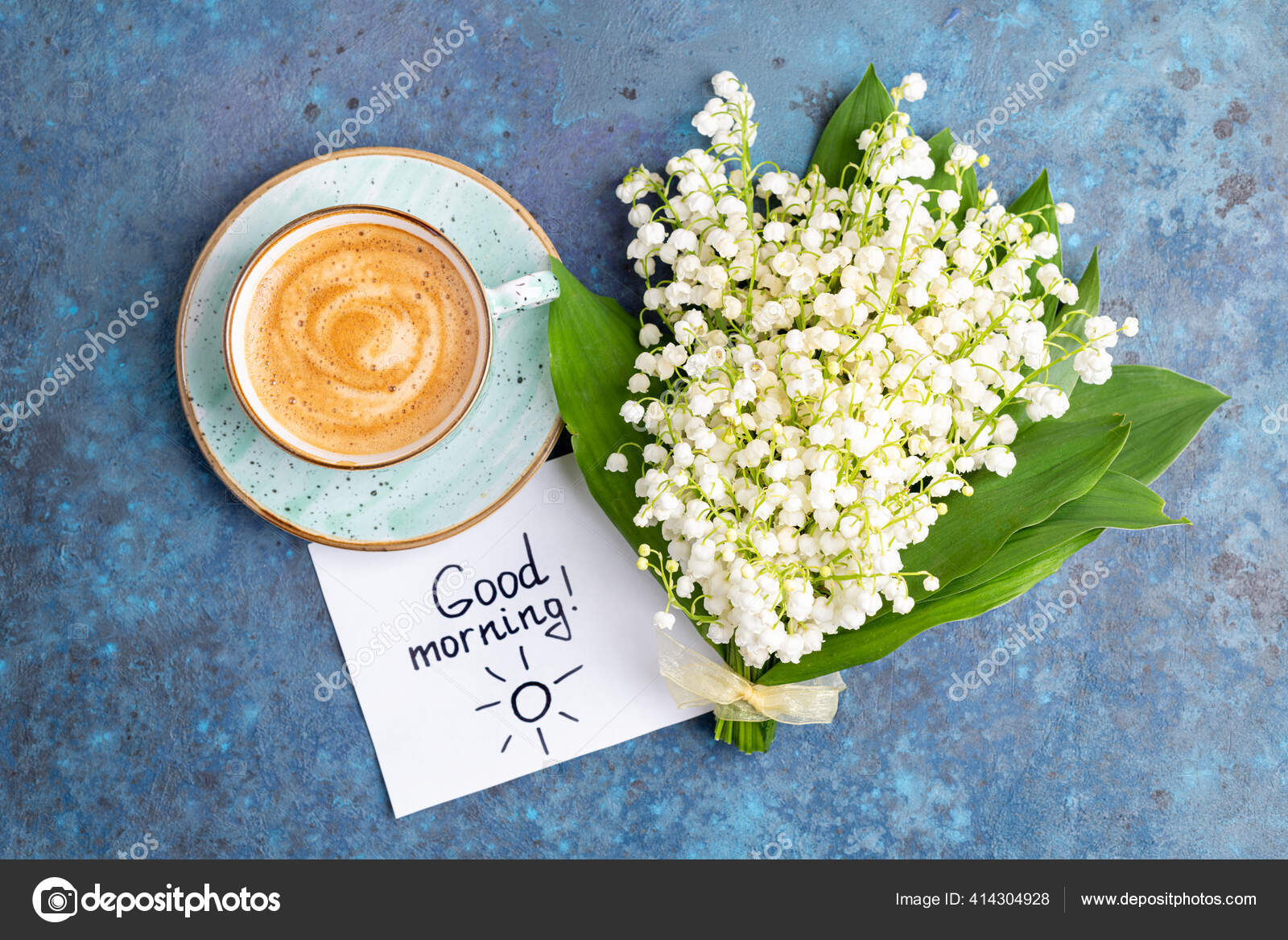 Notes Good Morning Coffee Mug Bouquet Flowers Lily Valley Blue Stock Photo C Lanasweet 414304928