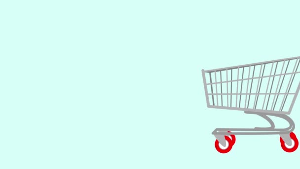 Red Bad Load Full Shopping Cart,shopping Cart For Sale Concept