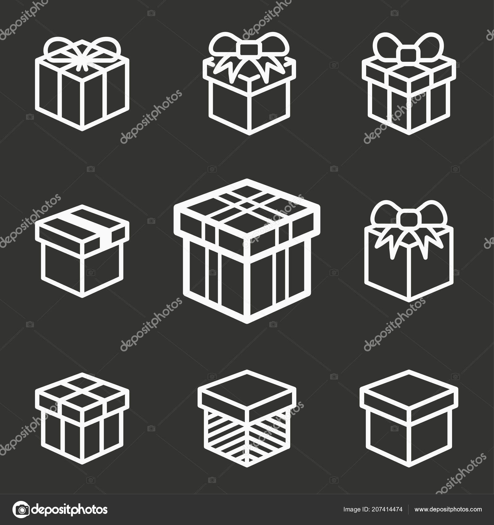 Gift Box Surprise Icons Set Of Present Parcel Package Discount Delivery Birthday Prize Symbols