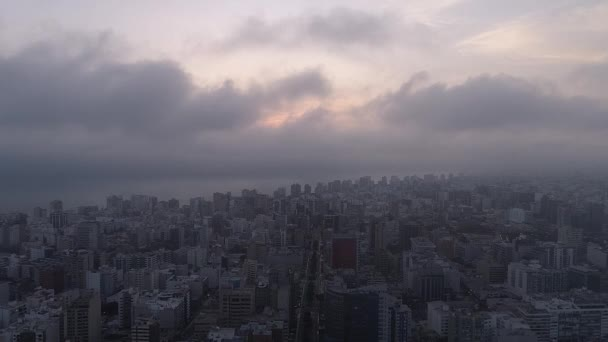Aerial video of Lima during a cloudy sunset