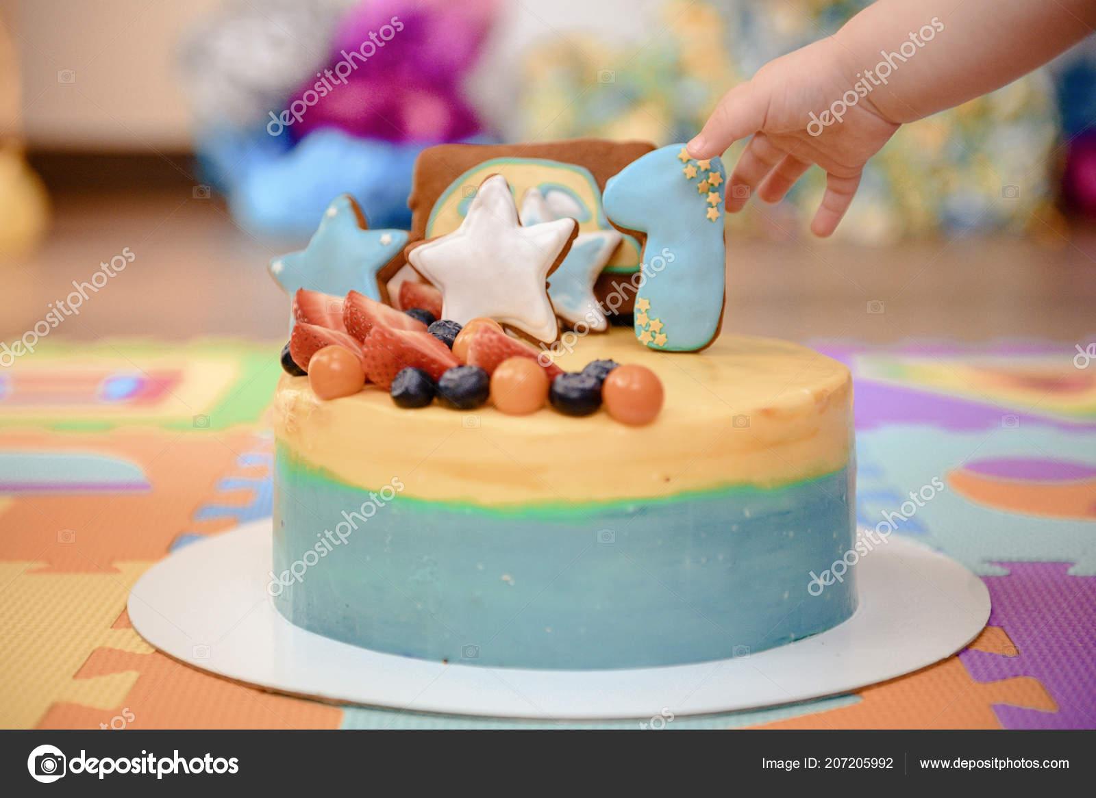 Wondrous Details Voor Een Eerste Jaar Cake Van Kindverjaardag Blauw Voor Funny Birthday Cards Online Alyptdamsfinfo