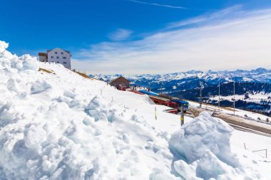 Railway station on the top of Rigi Kulm during Spring time, Switzerland