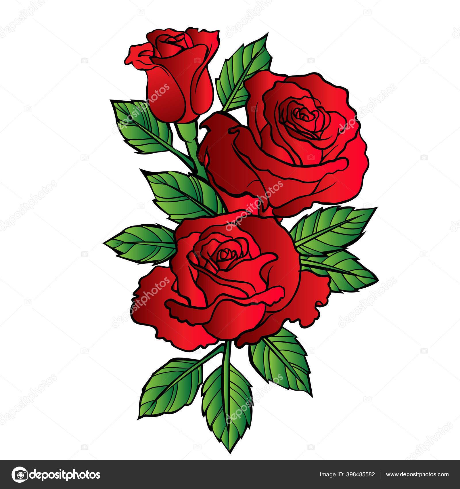 Bunga Vektor Mawar Kartun Merah Ilustrasi Stok Vektor C Thinkliketiger Gmail Com 398485582