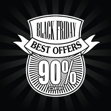 Black Friday Banners Sale black and white illustration Vector