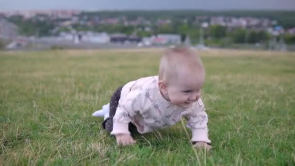 Child outdoors, crawling on the lawn