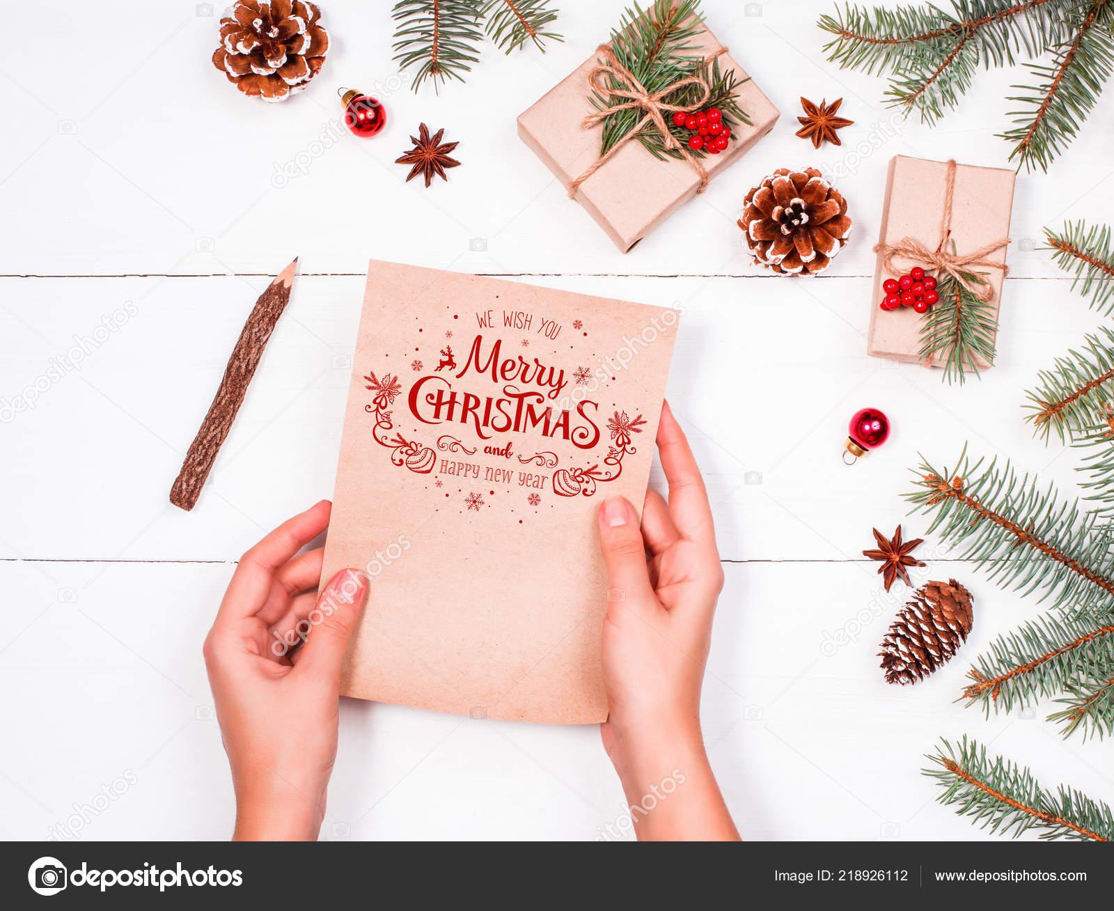 Weibliche Hand Schreiben Und Lesen Einen Brief Den Weihnachtsmann