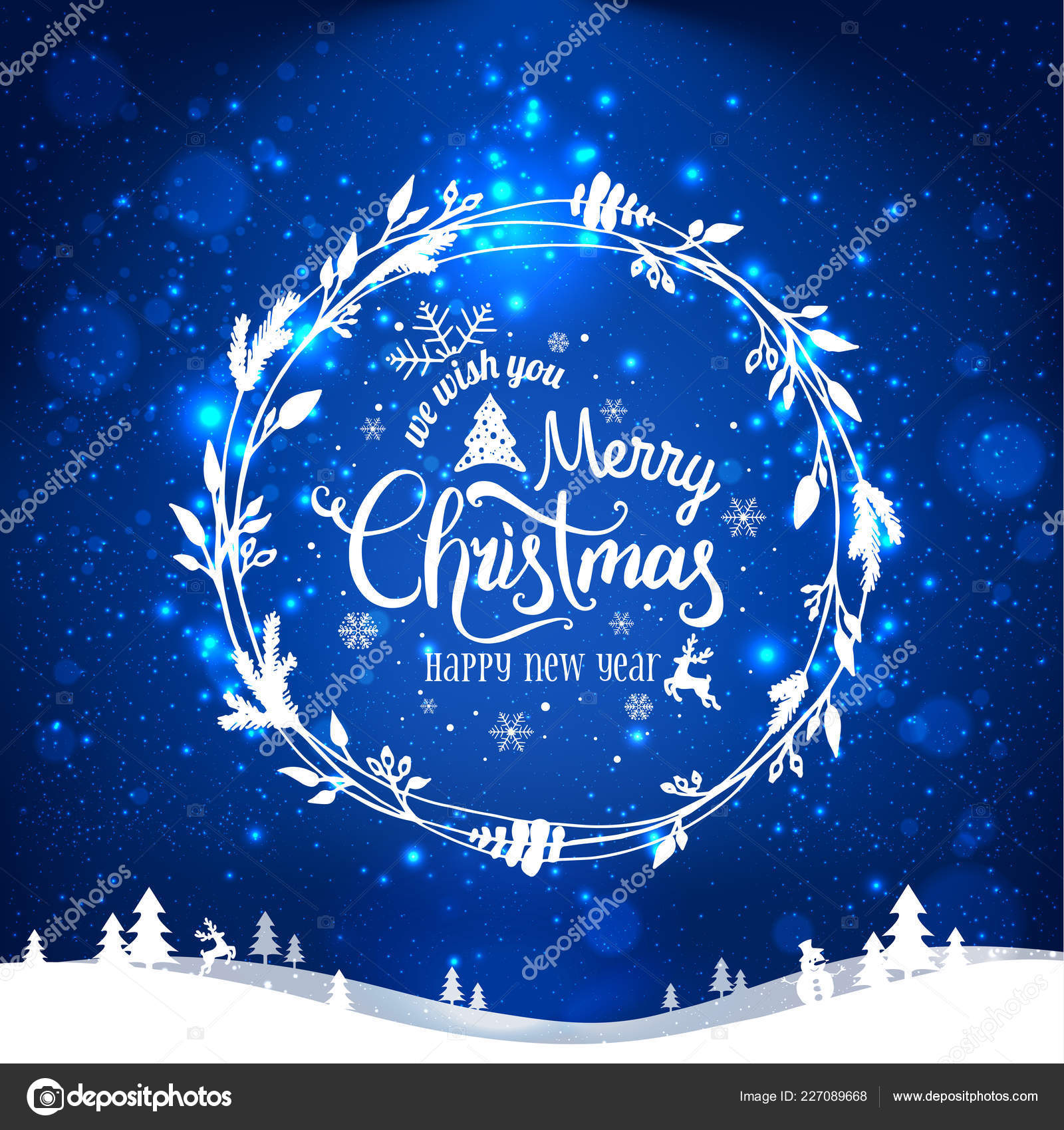 Merry Christmas and New Year typographical on blue holiday ...