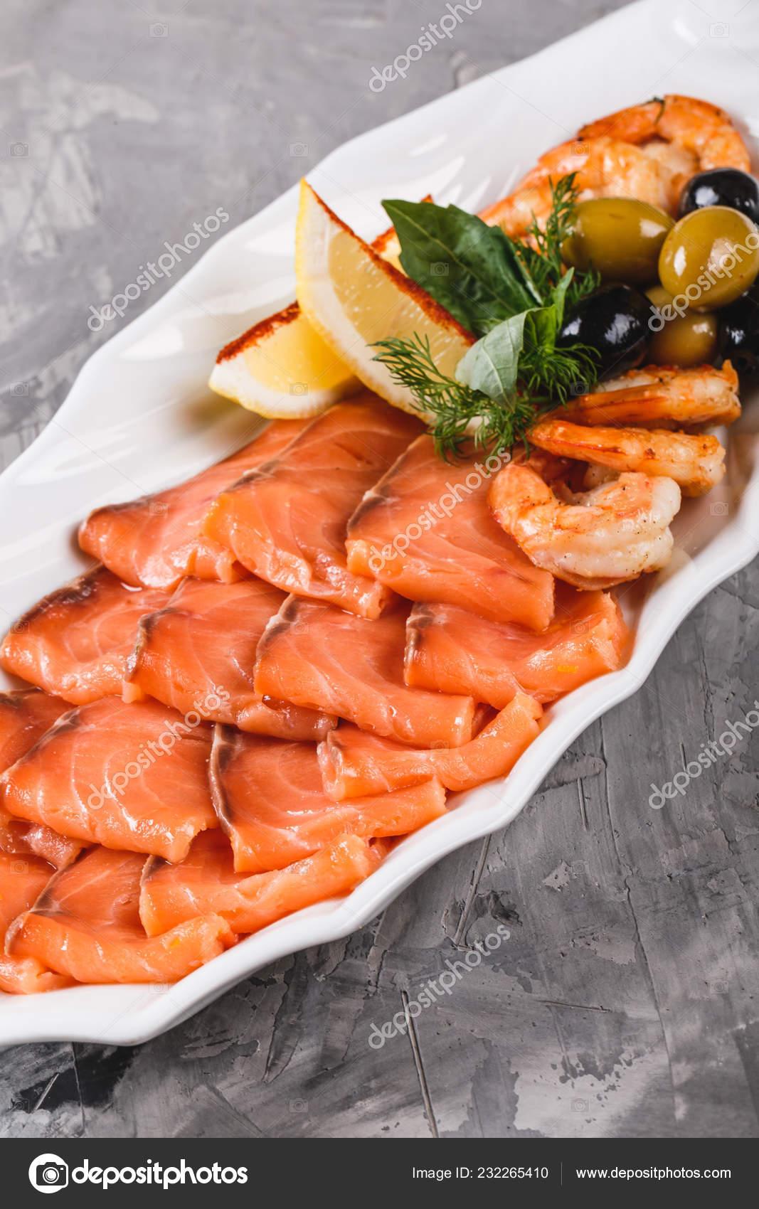 Seafood Platter Salmon Slice Shrimp Slices Fish Fillet Decorated Olives Stock Photo C Valentinjukov 232265410