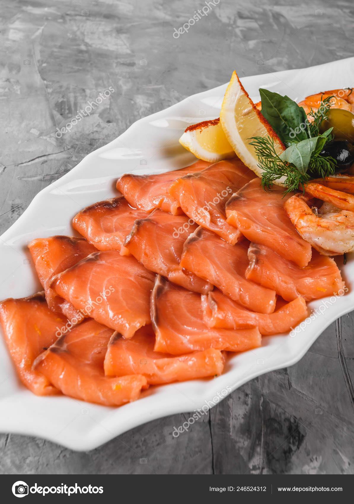 Seafood Platter Salmon Slice Shrimp Slices Fish Fillet Decorated Olives Stock Photo C Valentinjukov 246524312