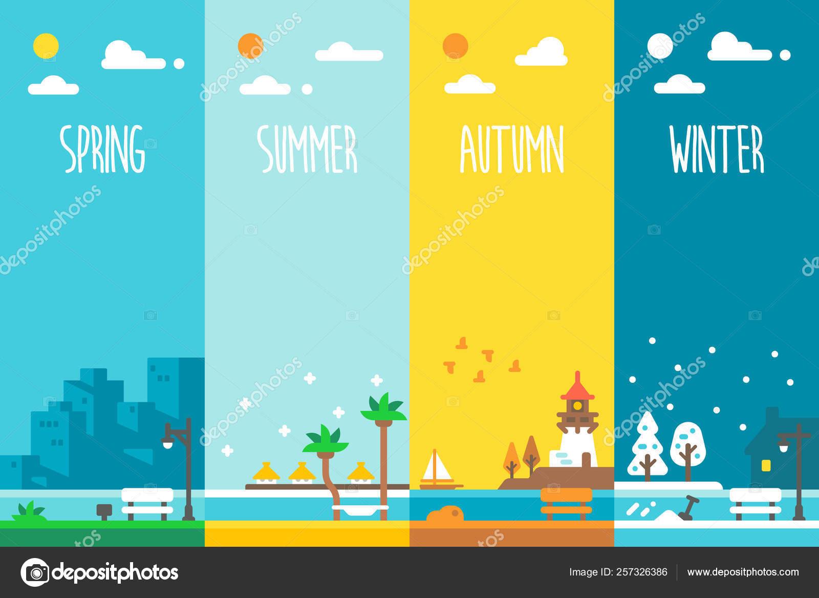 Flat design 4 seasons holiday ...
