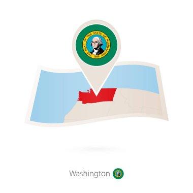 Folded paper map of Washington U.S. State with flag pin of Washington. Vector Illustration