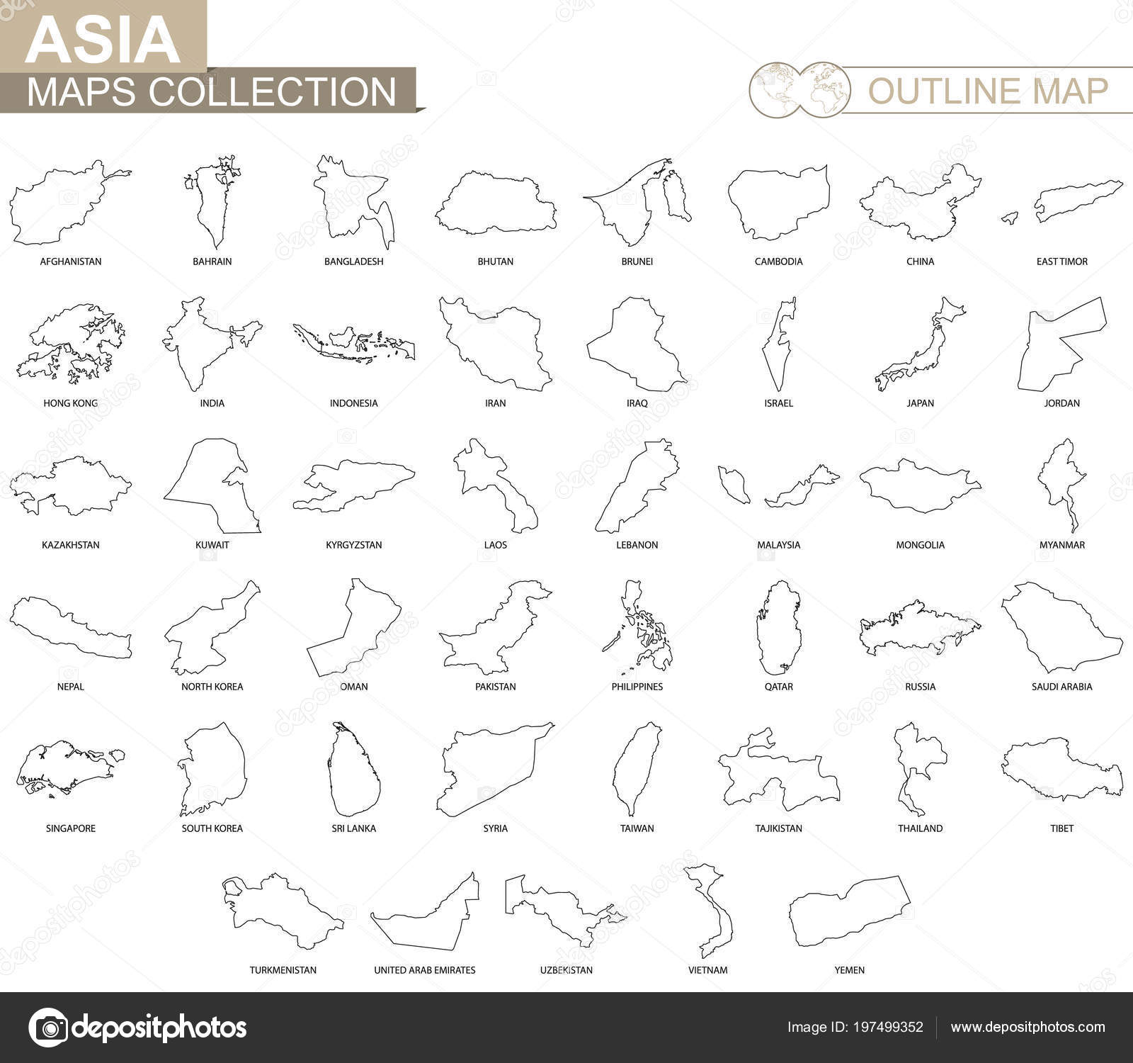 Outline Map Of Asia.Outline Maps Asian Countries Collection Black Lined Vector Map