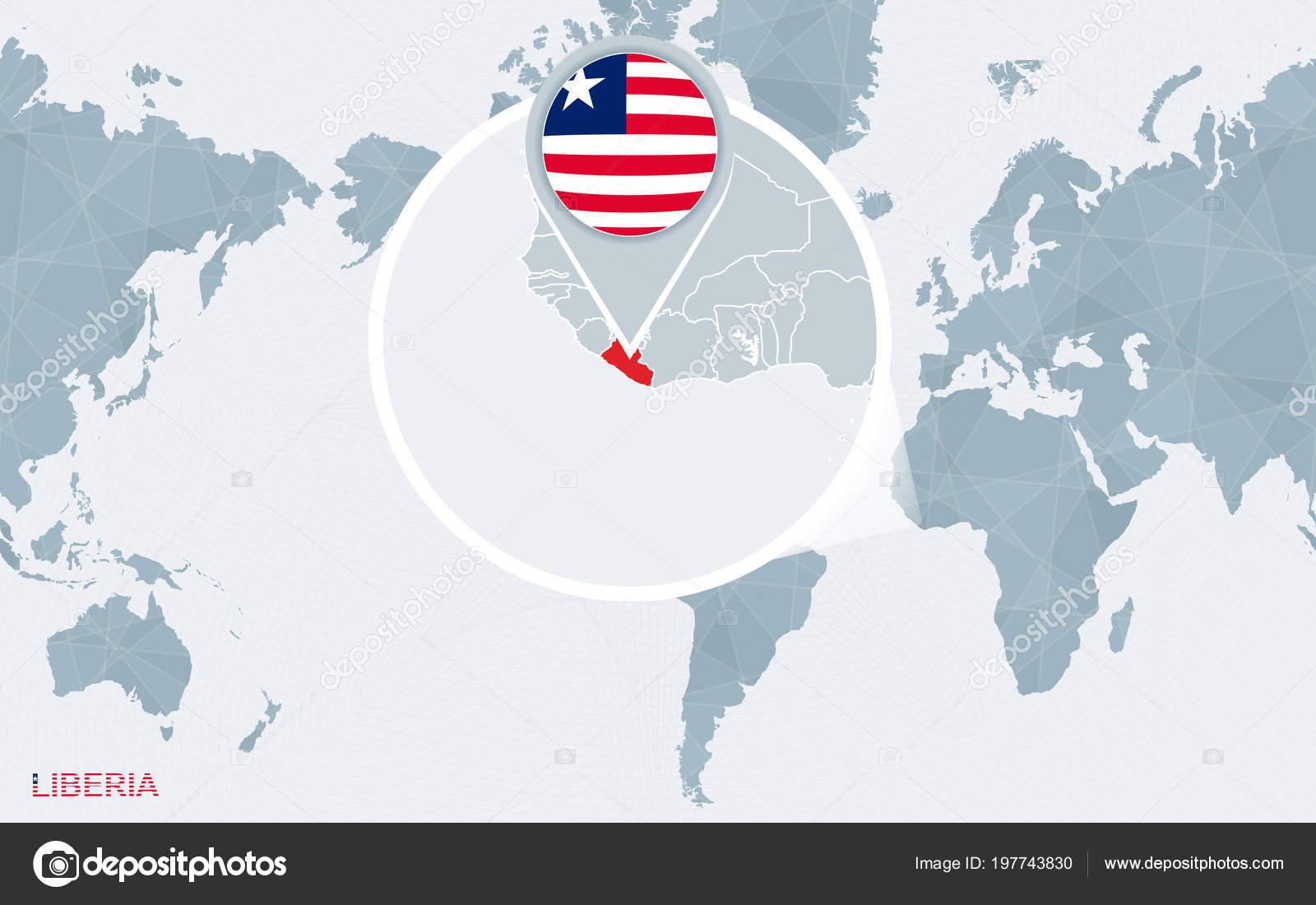 World Map Centered America Magnified Liberia Blue Flag Map Liberia