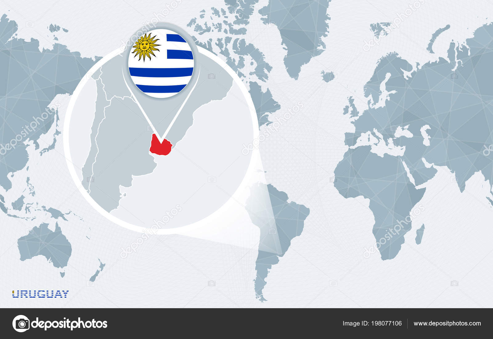 World map centered america magnified uruguay blue flag map uruguay world map centered america magnified uruguay blue flag map uruguay stock vector gumiabroncs Images