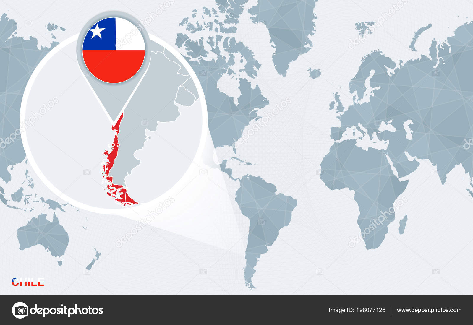 World Map Centered America Magnified Chile Blue Flag Map Chile ... on