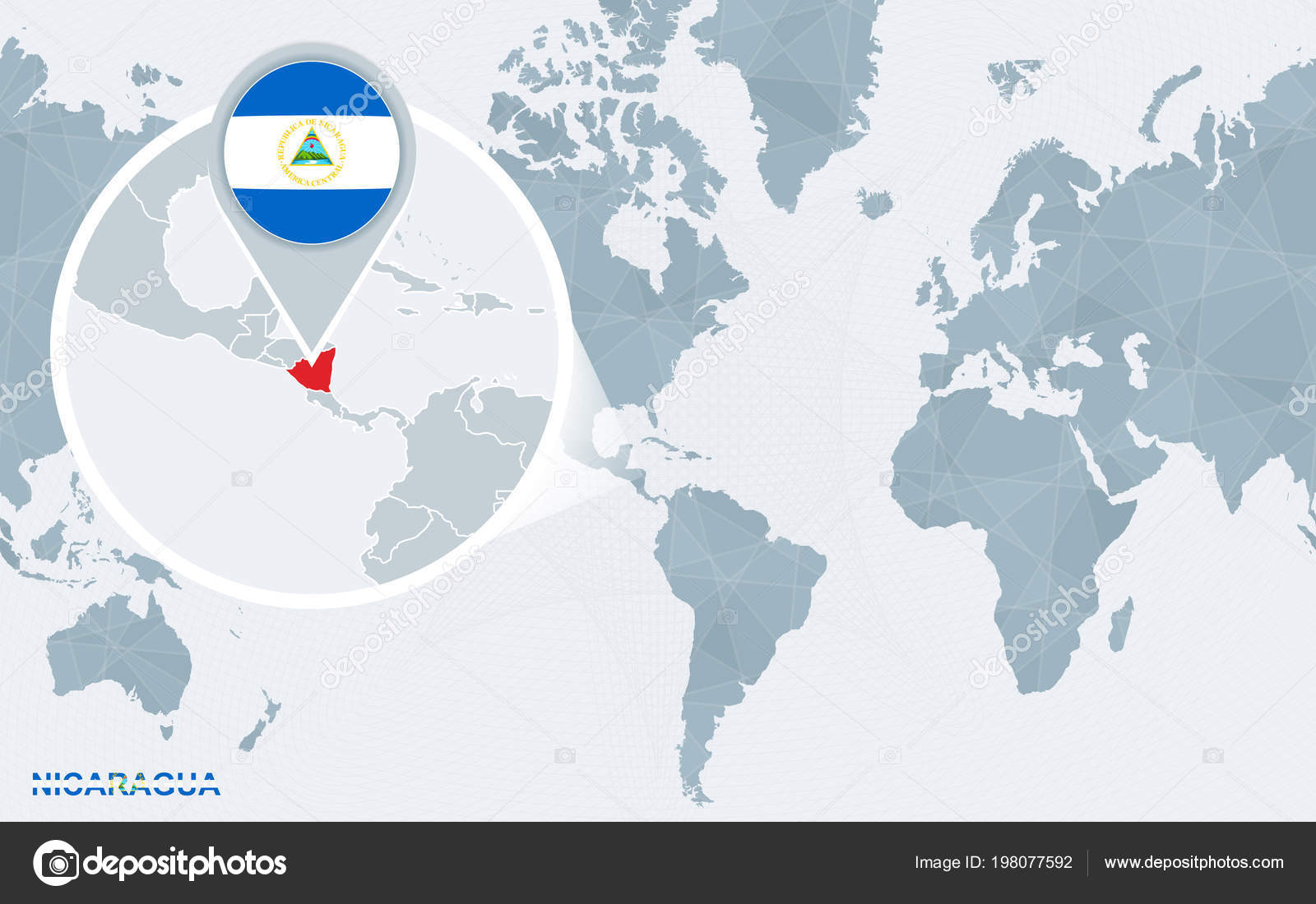 Nicaragua Location On World Map.World Map Centered America Magnified Nicaragua Blue Flag Map