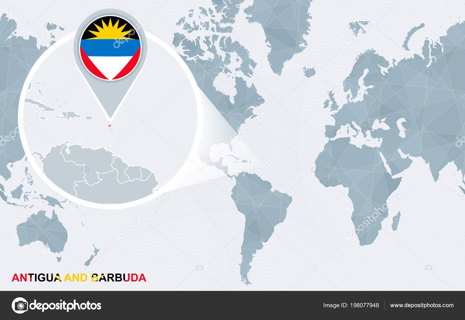 Antigua And Barbuda World Map.World Map Centered America Magnified Antigua Barbuda Blue Flag Map