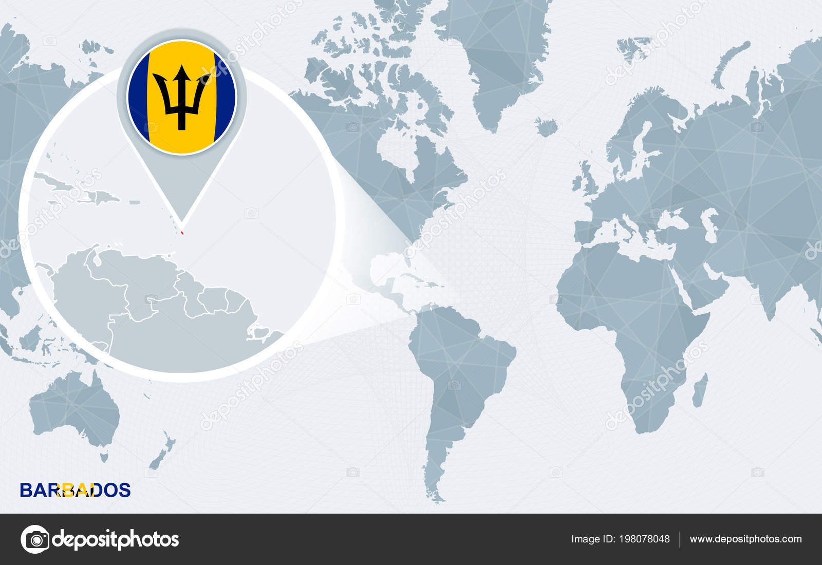 Picture of: World Map Centered America Magnified Barbados Blue Flag Map Barbados Stock Vector C Boldg 198078048