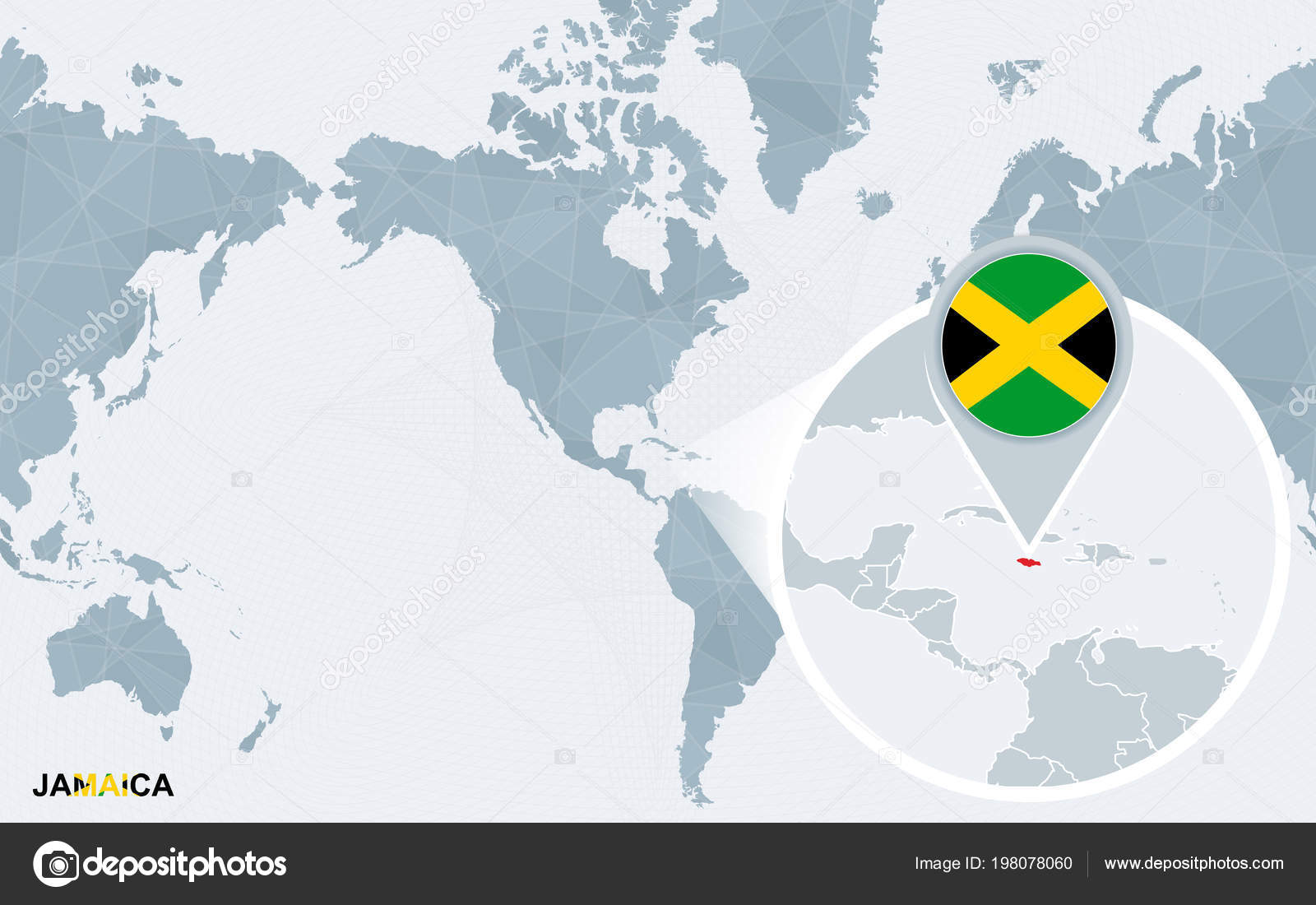 World Map Centered America Magnified Jamaica Blue Flag Map ...
