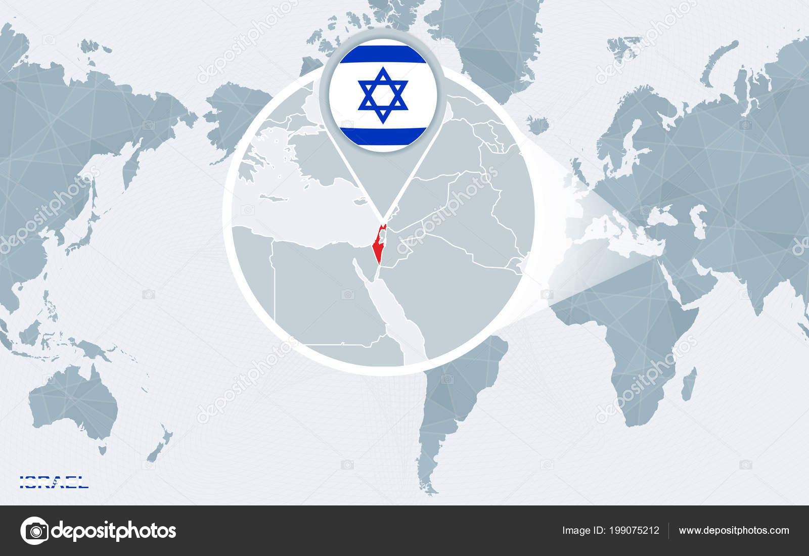 World Map Centered America Magnified Israel Blue Flag Map Israel ...
