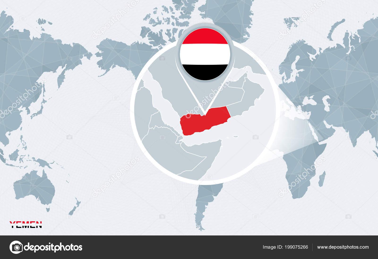 World Map Centered America Magnified Yemen Blue Flag Map Yemen