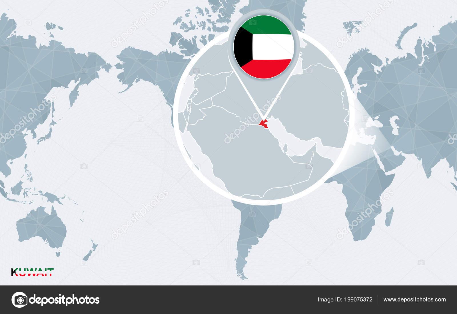 World Map Centered America Magnified Kuwait Blue Flag Map Kuwait ...