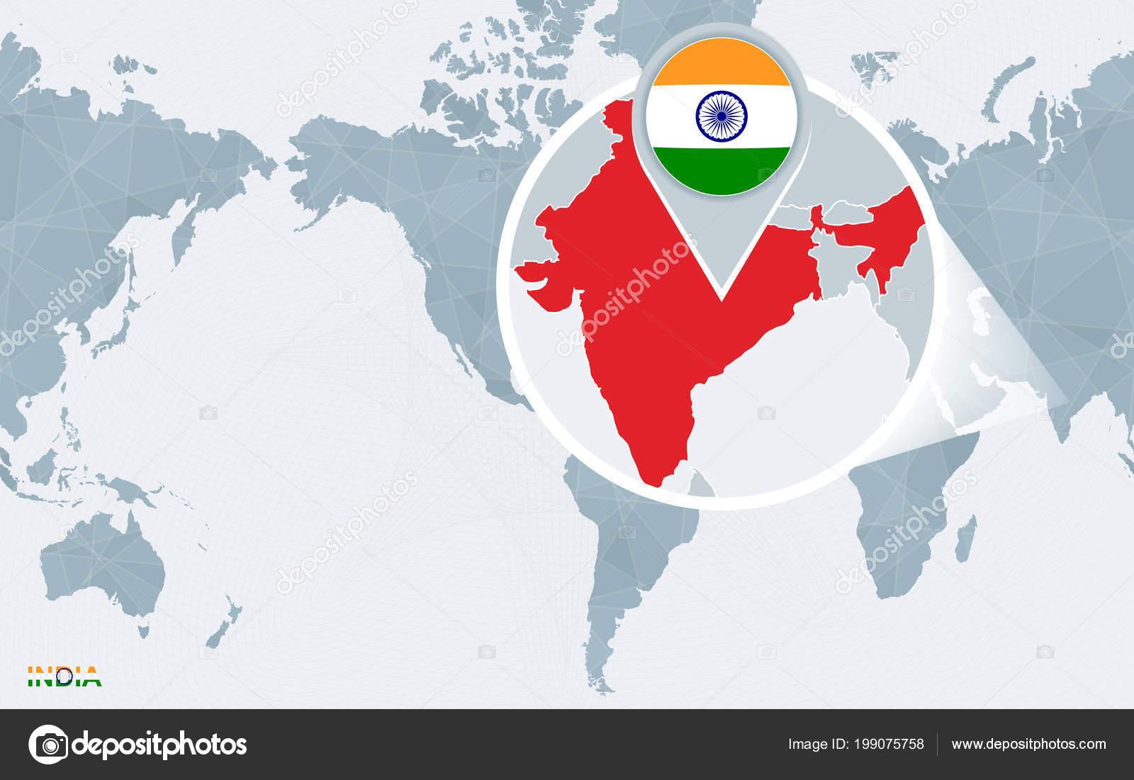 Mapa mundial centrado amrica con india magnificada bandera azul mapa mundial centrado amrica con india magnificada bandera azul mapa vector de stock gumiabroncs Images