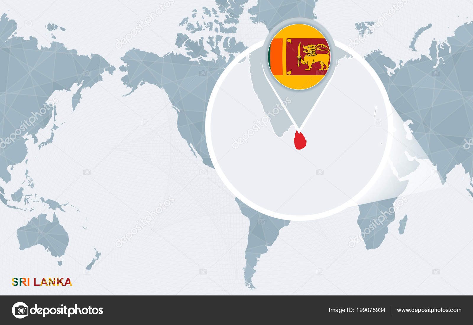 World Map Centered America Magnified Sri Lanka Blue Flag Map — Stock ...