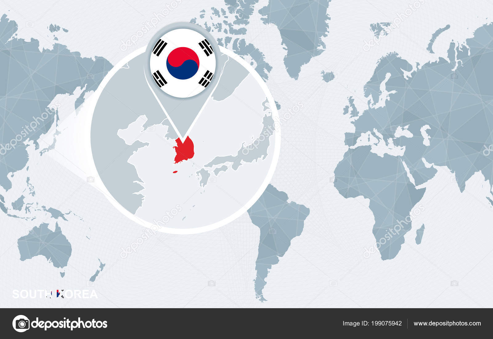 World Map Centered America Magnified South Korea Blue Flag Map