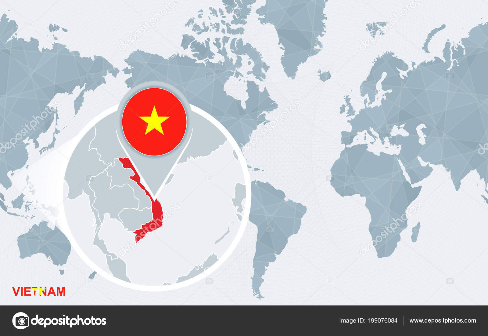 World Map Centered America Magnified Vietnam Blue Flag Map Vietnam