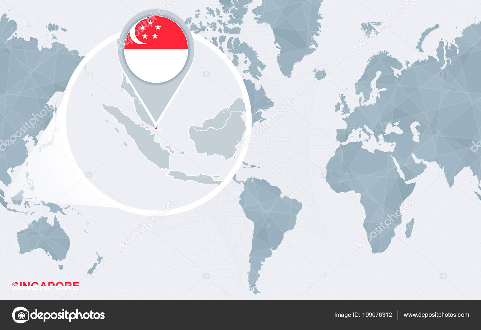 World Map Centered America Magnified Singapore Blue Flag Map