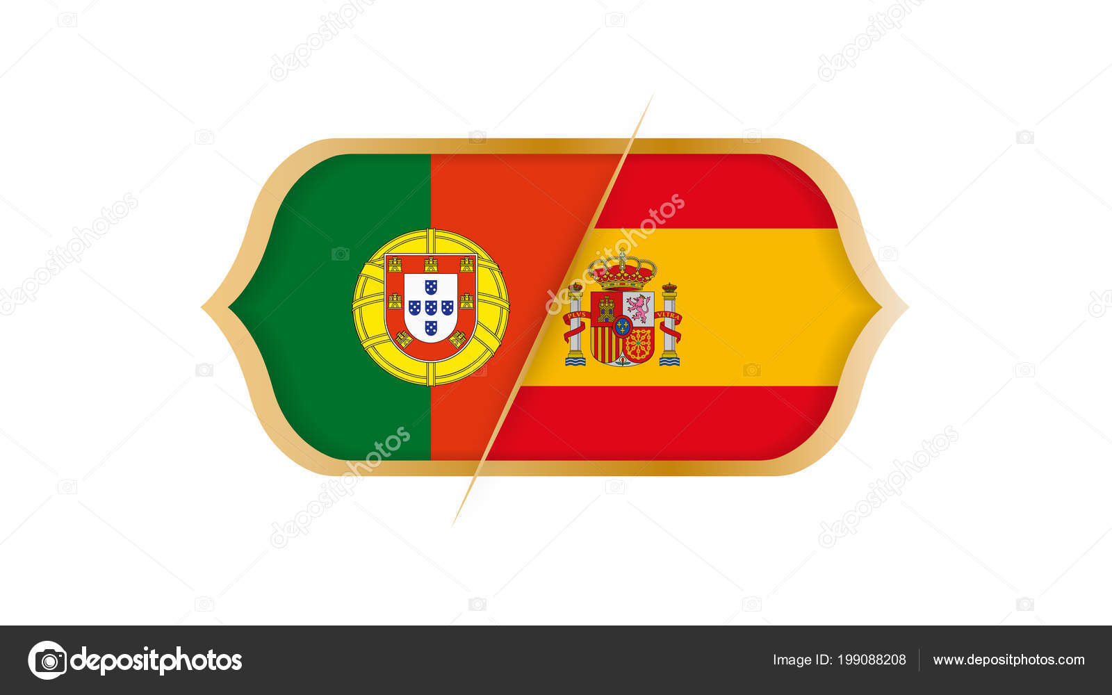 Soccer World Championship Portugal Spain Vector Illustration Stock