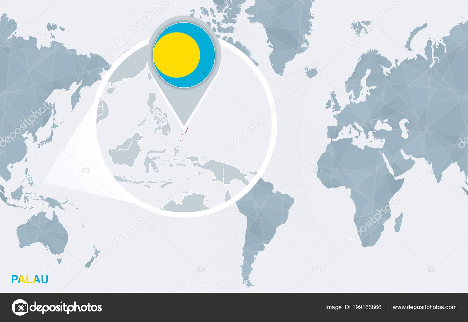 World map centered america magnified palau blue flag map palau world map centered america magnified palau blue flag map palau vector de stock gumiabroncs Choice Image