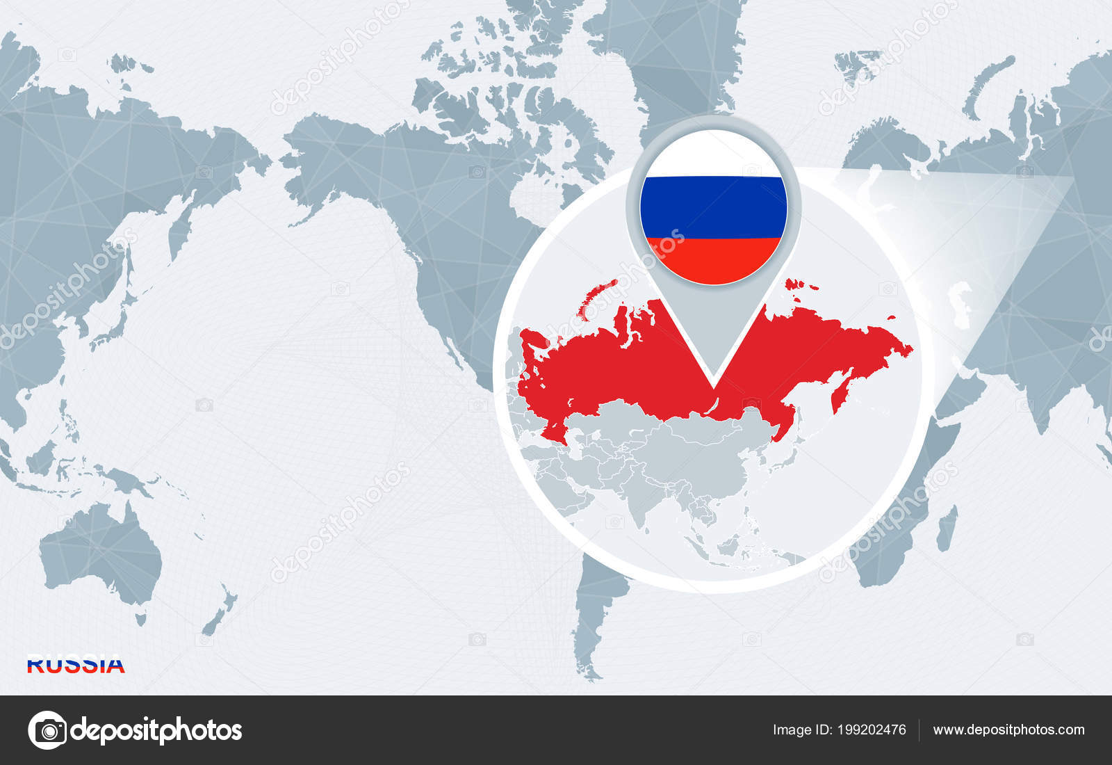 World map centered america magnified russia blue flag map russia world map centered america magnified russia blue flag map russia stock vector gumiabroncs Image collections
