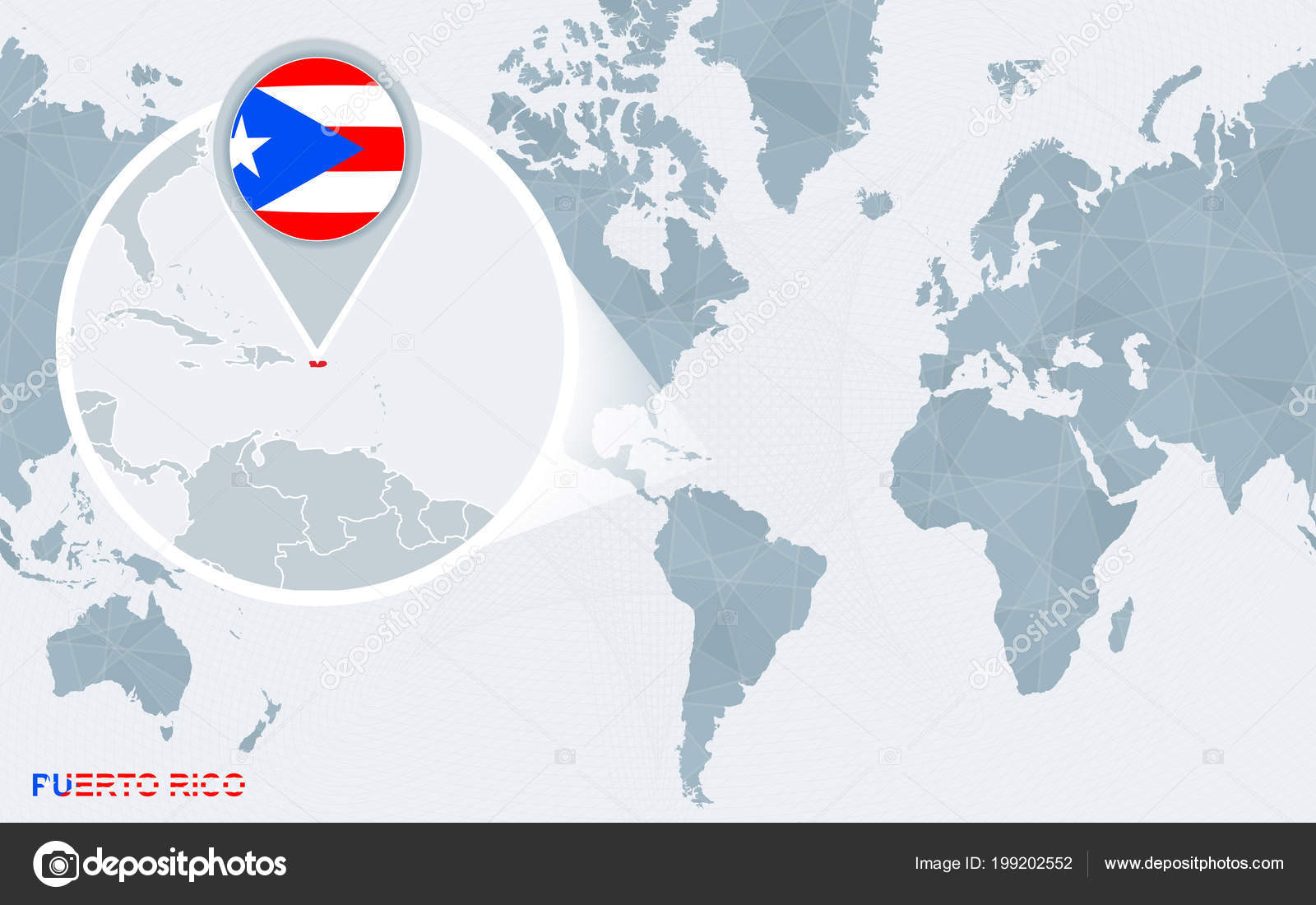 World Map Centered America Magnified Puerto Rico Blue Flag ...