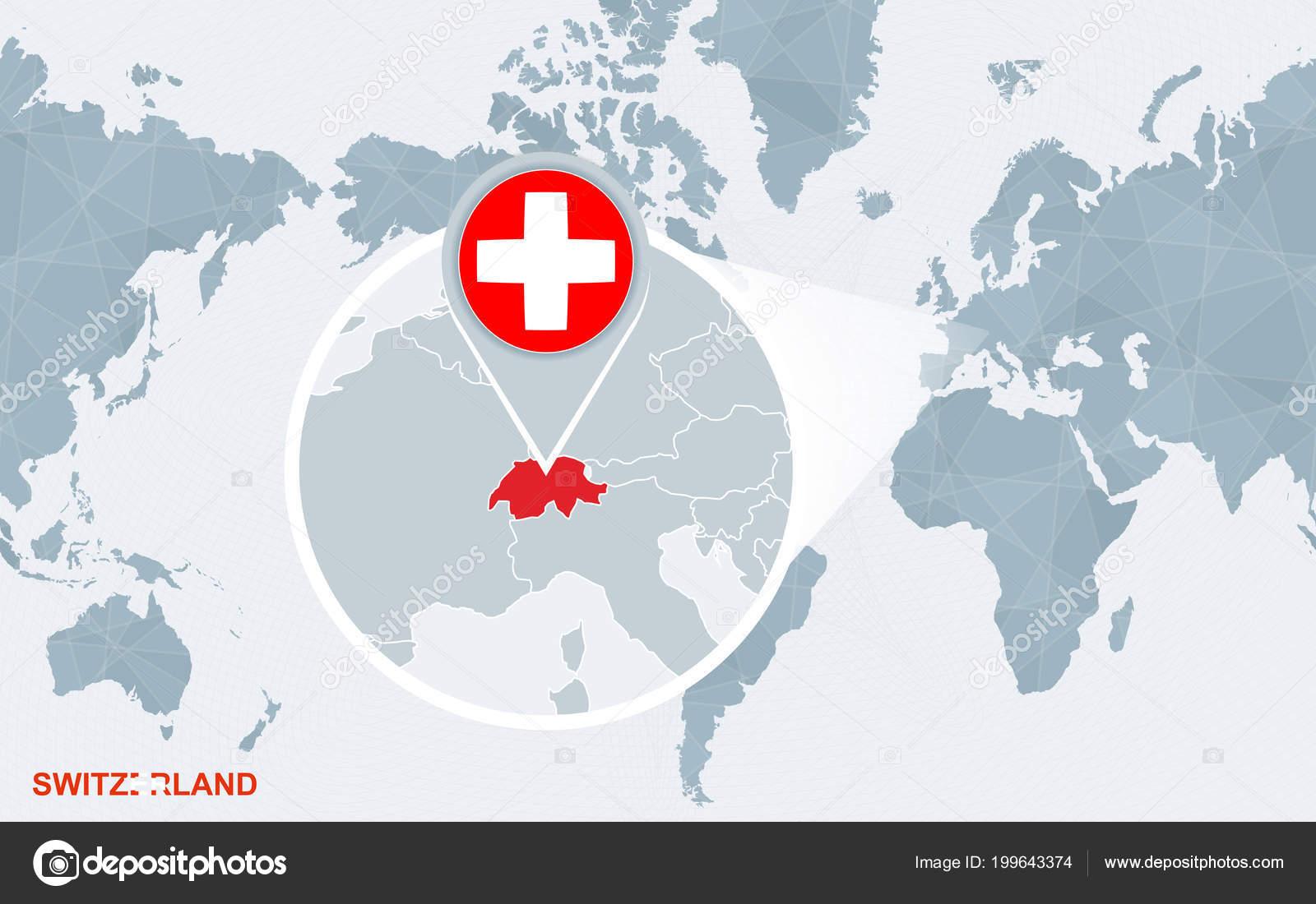 拡大スイスとアメリカを中心とした世界地図 スイス連邦共和国の