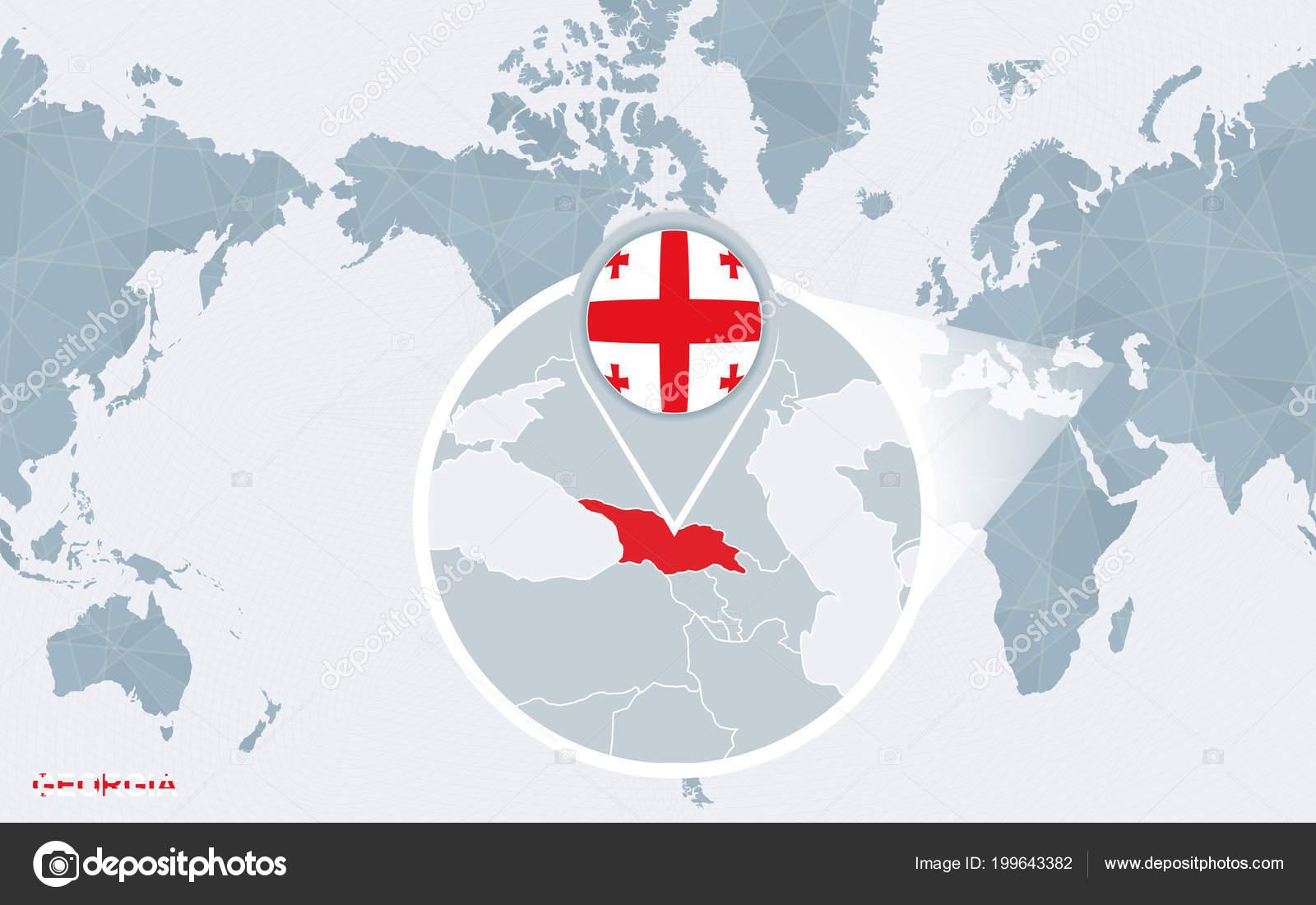 grúzia térkép Világ Térkép Középpontjában Amerikai Nagyított Grúziával Kék  grúzia térkép