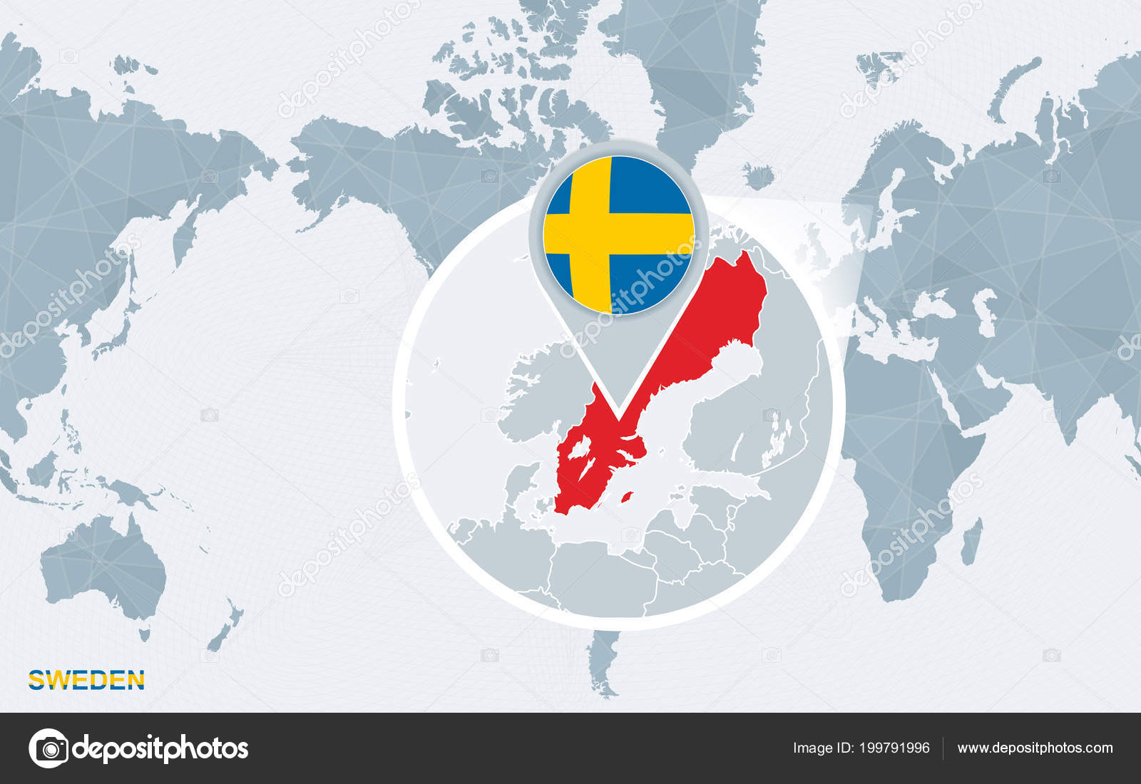 World Map Centered America Magnified Sweden Blue Flag Map ...