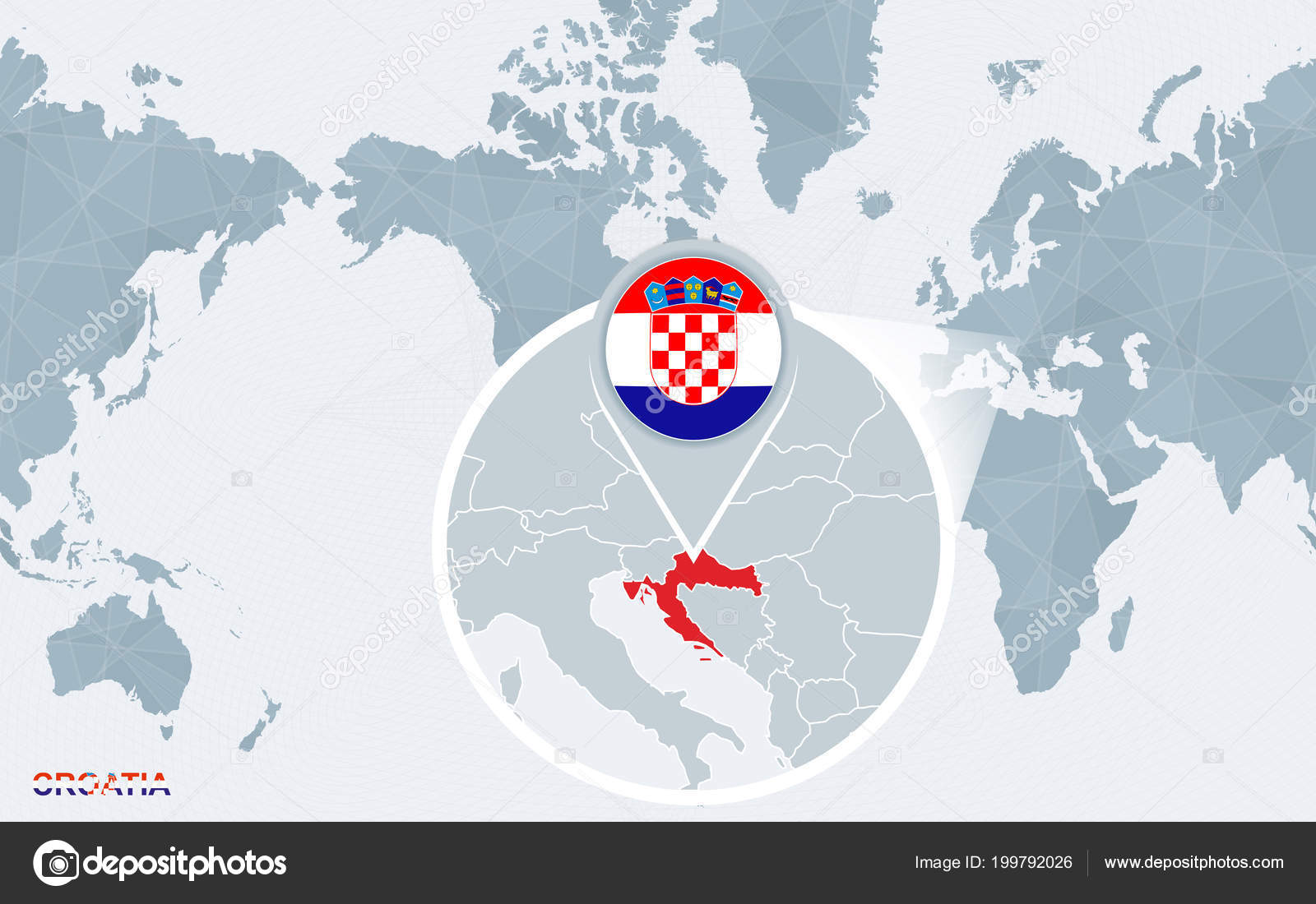 World map centered america magnified croatia blue flag map croatia world map centered america magnified croatia blue flag map croatia stock vector gumiabroncs Images